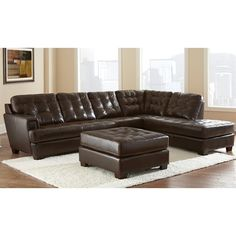 Steve Silver Company Soho 3 Piece Leather Sofa Set in Ebony Brown - - Lowest price online on all Steve Silver Company Soho 3 Piece Leather Sofa Set in Ebony Brown - Family Furniture, Living Room Furniture Layout, New Furniture, Furniture Ideas, Living Room Plan, Living Room Sets, Leather Sofa Set, Leather Sectional, Sofa Layout