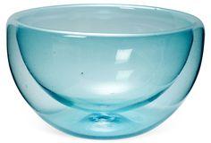 One Kings Lane - Gansett Lane Home - Blown-Glass Serving Bowl, Sky
