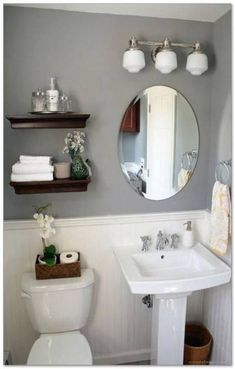 Here are the Small Bathroom Decor Ideas On A Budget. This post about Small Bathroom Decor Ideas On A Budget … Small Bathroom Shelves, Half Bathroom Decor, Bathroom Storage, Bathroom Interior, Modern Bathroom, Bathroom Ideas, Bathroom Mirrors, Bathroom Makeovers, Bathroom Cabinets