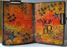 "Art Journal ~ Enjoy the Day -- Using the Balzer Designs ""Chevron Arrows"" stencil"