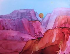 "An alcohol ink, ""Beyond the Hills,"" is FOR SALE.  See auction at http://www.dailypaintworks.com/Buy/Auction/189178"