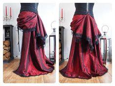 2 in 1 Bustle Trailing Skirt Victorian Steampunk Gothic Burlesque Tribal  Bellydance Overskirt Train Black Red Gold Purple Brown Lace trim 85b11dece