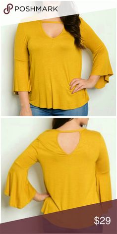 "➕ ""Goldie"" Cut Out Top Comfy & stylish round neck, bell sleeve top. Features sexy neck cut out & 3/4 length sleeves. Made in USA  Color: Mustard Material: 95% Rayon, 5% spandex Measurements:  1X: B 40"", W, 44"", length 27"" 2X: B 42"", W 46"", length 27"" 3X: B 44"", W 48"", length 27"" Wild Plum Tops"