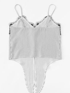 To find out about the Lace Insert Knot Front Striped Cami Top at SHEIN, part of our latest Tank Tops & Camis ready to shop online today! Striped Cami Tops, Cami Crop Top, Crop Tops, Diy Camisa, White High Waisted Jeans, Trouser Co Ord, Tapered Trousers, Crop Top Outfits, Lace Insert