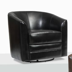 Have to have it. Emerald Home Furnishings U5029B-04-16 Milo Bonded Leather Swivel Chair - Black $306.99