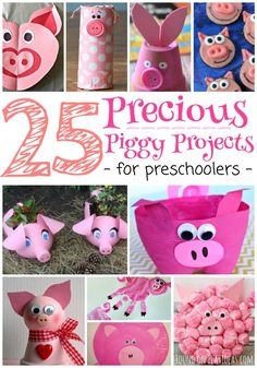 25 Precious Piggy Projects For Preschoolers (and pink lovers alike! Farm Animal Crafts, Pig Crafts, Farm Crafts, New Year's Crafts, Animal Crafts For Kids, Toddler Crafts, Preschool Crafts, Animals For Kids, Diy Crafts For Kids