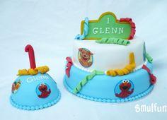 Sesamstraat taart met meptaartje voor de eerste verjaardag