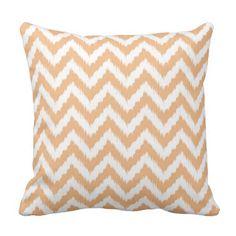 Orange Chevron Ikat Pattern Throw Pillow
