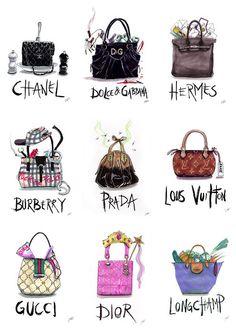 fashion handbag Illustration! chanel dolce hermes louis vuitton burberry prada gucci dior longchamp