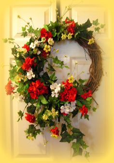 Colorful Summer WreathGeraniums Greenery  30 by SouthernPrimitives, $44.99