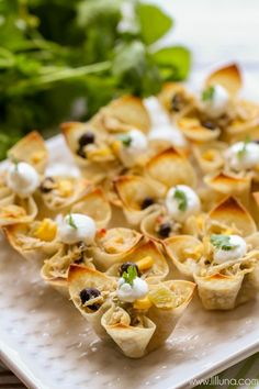 Southwest Chicken Wonton Cups - the perfect and tastiest appetizer for your Mexican-themed meal. { lilluna.com }