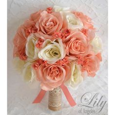 CORAL PEACH IVORY RUSTIC BURLAP LACE Model: Bride's bouquet Peach and ivory open Roses accented with coral Baby's Breath. *(Round bouquet has a thick handle and Peach Bouquet, Silk Flower Bouquets, Bouquet Toss, Bride Bouquets, Silk Flowers, Bouquet Wedding, Coral Wedding Bouquets, Wedding Blush, Spring Wedding Flowers