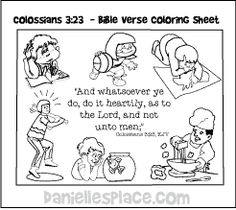 Colossians 3:23 - Bible Verse Coloring Sheet for Sunday School