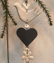 Stacked dove ornament - inspiration - clay dove, wooden / tin heart Grand Illusions - This could be for Christmas but like it in a window or on a wall. Clay Christmas Decorations, Christmas Clay, Handmade Christmas, Holiday Crafts, Christmas Ornaments, Salt Dough Crafts, Dough Ornaments, Homemade Ornaments, Deco Originale