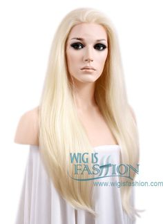"""24"""" Long Straight Light Blonde Lace Front Synthetic Hair Wig LF010 - Wig Is Fashion"""