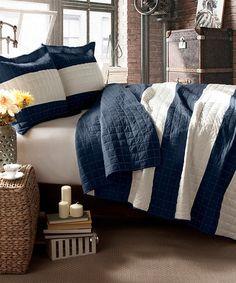Another great find on #zulily! Navy Berlin Stripe Cotton Fleece Quilt #zulilyfinds