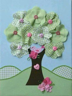 Items similar to Sweet Tree – A Fabric Collage on Stretched Canvas on Etsy - handmade crafts Sewing Appliques, Applique Patterns, Applique Quilts, Applique Designs, Embroidery Applique, Quilt Patterns, Embroidery Designs, Embroidery Thread, Fabric Art