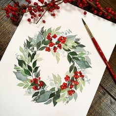 I saw this wreath on … ・・・ Well happy holidays…! I saw this wreath on Magnolia 's page and tried my best to do it justice! … … Used- Classics, Decadent Pies. Prima Watercolor, Wreath Watercolor, Watercolor Flowers, Watercolor Ideas, Painting & Drawing, Watercolour Painting, Watercolors, Painting Tricks, Wreath Drawing