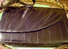 SALE Black Eel skin shoulder bag with by SkyAccessoryBoutique, $40.00