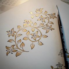 We have come to the end of an experiment inspired by lilies ç Ä . Basic Painting, Ornament Drawing, Islamic Art Pattern, Hand Painted Fabric, Mehndi Art Designs, Tanjore Painting, Arabic Calligraphy Art, Turkish Art, Celtic Art