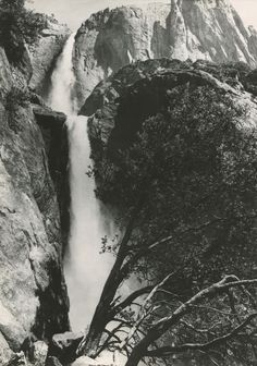 Ansel ADAMS: Falls, Yosemite National Park, CA, 1967 / VINTAGE silver / STAMPED!