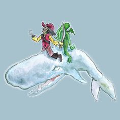 The Pirate, the alien and the whale by Laz, on Redbubble
