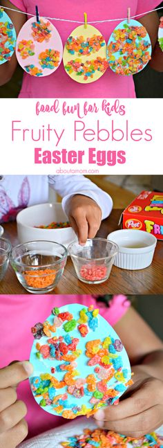 Who says you're not supposed to play with your food? Give your kids permission to break the rules with this fun Fruity Pebbles Easter Eggs craft. #PebblesCereal AD