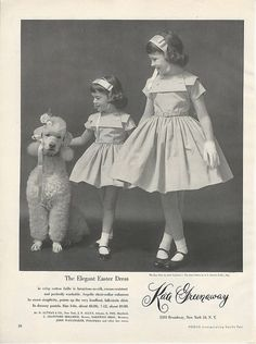 1955 KATE GREENAWAY Elegant Cute Vintage LITTLE GIRLS FASHION DRESSES Poodle Ad