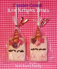 Gourmet Chocolate Covered Rice Krispy Treat Pops - Unicorn Chocolate Rice Crispy Treats, Rice Krispie Treats, Rice Krispies, Birthday Party Desserts, Birthday Ideas, Birthday Parties, Chocolate Dipped Pretzel Rods, Traditional Cakes, Cookie Tray