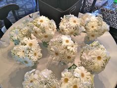 White Gerber Daisy and Baby's Breath bouquet by Alta Fleura