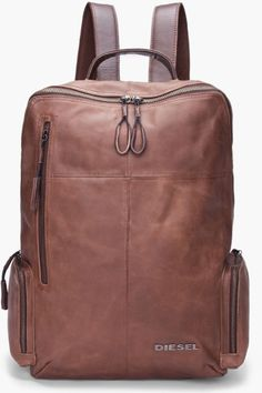 Diesel men's brown leather forward backpack (don't care if this is a men's backpack-I would totally rock this!) mens fashion Men fashion and. Fashion Bags, Fashion Accessories, Mens Fashion, Fashion Shoes, Der Gentleman, Mode Masculine, Men's Backpack, Men Online, Mode Style