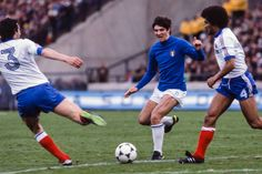 Italy 2 France 1 in 1978 in Mar Del Plata. Maxime Bossis clears with Paolo Rossi looking for a chance in the Group A clash at the World Cup Finals. World Cup Final, France 1, Finals, Football, Running, Sports, Ms, Group, Photography