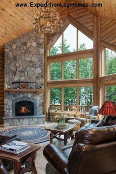 Log home decorating ideas appealing corner fireplace ideas in the living room tags corner fireplace ideas Corner Fireplace Layout, Plan Chalet, Home Fireplace, Fireplace Ideas, Fireplace Stone, Fireplace Windows, Corner Fireplaces, Log Home Interiors, Log Home Decorating