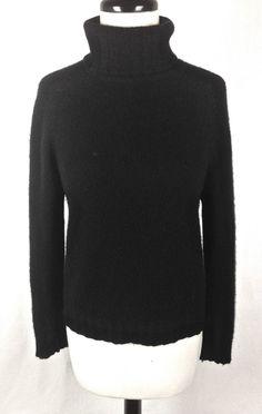 Valerie Stevens Sweater Black Cashmere Long Sleeve Womens M #ValerieStevens #TurtleneckMock