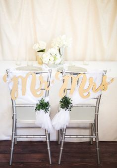 Mr and Mrs Wedding Signs Gold Chair Sign Set for Wedding, Hanging Reception or Party Decor, Custom Painted or Unpainted Set (Item - MCK200)