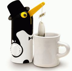 Penguin Tea Timer happily does the waiting for you. Place your tea cup under the beak and set it to the desired time. As you turn the timer dial the beak lowers the tea into the hot water. When time is up, a bell sounds and the penquin automatically lifts its beak.