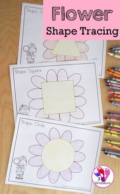 Free Flower Shape Tracing Printables - 9 fun shapes for kids to trace with a fun flower theme for a spring theme in prek and kindergarten - 3Dinosaurs.com #freeprintable #shapesforkids #shapetracing #3dinosaurs