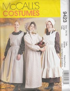 Mccall's Sewing Pattern Costumes Misses Pioneer Dress & Apron Sml Med Lar Mccalls Sewing Patterns, Vintage Sewing Patterns, Dress Patterns, Sewing Ideas, Sewing Projects, Apron Sewing, Pattern Dress, Pioneer Costume, Pioneer Clothing
