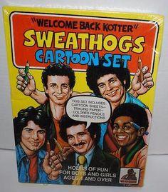 Welcome-Back-Kotter-Sweathogs-Cartoon-Set-Sheets-Tracing-Paper-Pencils-1977