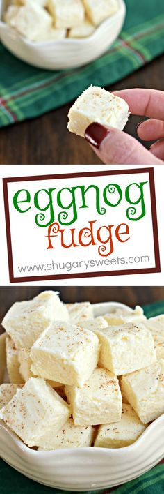 Eggnog Fudge is a better choice for your family cookie exchange. You'll stand out because it's awesome, and it's NOT a cookie! christmas food and drinks Fudge Recipes, Candy Recipes, Holiday Recipes, Dessert Recipes, Christmas Recipes, Fudge Flavors, Caramel Recipes, Cookie Recipes, Holiday Baking