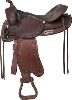 Western Sin Armadura Colorado Springs 'Denver'. Revolucionario: ¡una silla western sin armadura! Totalmente flexibles, se ajustan naturalmente a la anatomía del caballo y ofrecen más sensaciones. Fabricada en cuero de búfalo liso con bordes completamente trabajados a mano con dibujo de olas estriadas