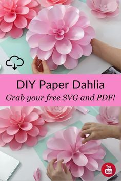 Let's make Dahlia paper flower! Watch the full video tutorial on YouTube where I show you how to make this gorgeous flower step-by-step very easily! And don't forget to grab free templates (follow the link here)! Paper dahlia, paper flower, #diypaperflower #dahlia #paperflowertemplates #paperflowertutorial giant paper flower easy Large Paper Flowers, Crepe Paper Flowers, Paper Flower Backdrop, Paper Dahlia, Paper Peonies, Diy Paper, Paper Crafts, Flower Step By Step, Paper Flower Tutorial