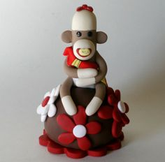 sock monkey baby bedroom for girl | Sock Monkey Baby Shower Cake Topper Boy or Girl w by SpiritMama, $48 ...