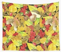 Various autumn leaves, mushrooms, nuts and berries painted with watercolors. Pattern made in Photoshop • Also buy this artwork on home decor, apparel, stickers, and more.