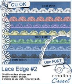 #Lace #Edge #2 - Font - Create a variety of lace borders with this font. You get a total of 25 basic lace edge patterns, and 10 filler patterns (which are smaller)