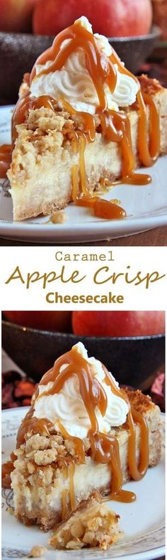 All of the sweet and caramely goodness of a traditional apple crisp, baked on graham cracker crust cheesecake and topped with a dollop of whipped cream. by goldie The post Caramel Apple Crisp Cheesecake appeared first on Food Monster. Apple Crisp Cheesecake, Cheesecake Recipes, Dessert Recipes, Cheesecake Cake, Salted Caramel Cheesecake, Dessert Blog, Chocolate Cheesecake, Dessert Table, Just Desserts