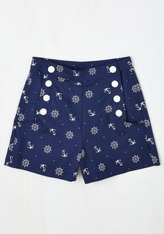 Play by Playful Shorts in Nautical. Youre just as smitten with sporting these navy, vintage-inspired shorts as you are with spending an afternoon at the baseball stadium. #blue #modcloth