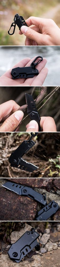 Inspired by the Stealth Bomber military aircraft, the B-2 Bomber Nano Blade is the last everyday pocket knife you will ever need to carry. Crafted from 440C heat treated black stainless steel, the hard blade is just 30mm long and 1mm thick. Half of the blade has a flat yet dangerously sharp edge, while the other half has Great American style serrated teeth, known for working against wood like a knife against butter. The entire knife measures at 80mm when opened.