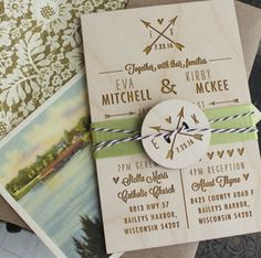 Vintage Wood Engraved Typography Wedding Invitation