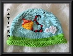 Knitting Pattern for Kite Baby Beanie-Children Clothing-Hand Knitted Baby Hat Pattern-RUNAWAY KITE